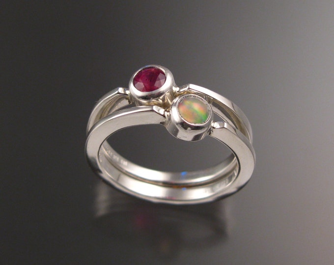 Stackable Mothers Birthstone ring set of Two Sterling silver premium birthstone rings Made to order in your size