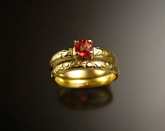 Orange Sapphire 14k Green Gold Victorian floral pattern wedding ring set Padparadscha engagement rings Made to order in your size