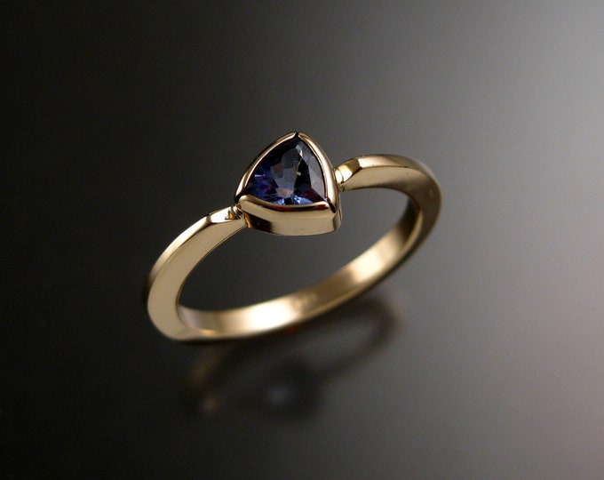 Tanzanite Stackable triangle ring 14k Yellow Gold stacking ring Made to order in your size