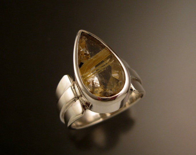 Rutilated Quartz Sterling Silver wide tapered raised center band pear shaped stone ring size 7 1/2