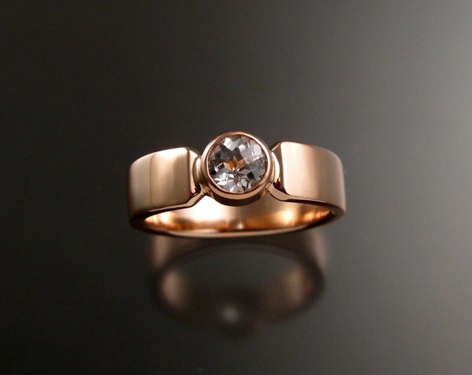 White Topaz Grooms 14k Rose Gold heavy rectangular band wedding ring made to order in your size Diamond substitute conflict free