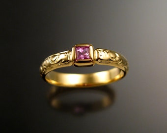 Pink Sapphire Wedding ring 14k Yellow Gold Victorian bezel set Natural princess cut Pink Diamond substitute ring made to order in your size