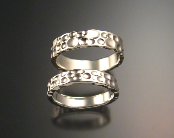 14k White Gold Moonscape Wedding band His and Hers Unique Handmade ring set for Bride and Groom made to order in your size