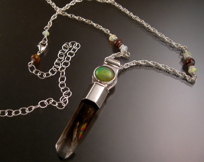Smoky Quartz crystal and Ethiopian Opal necklace Sterling silver handmade