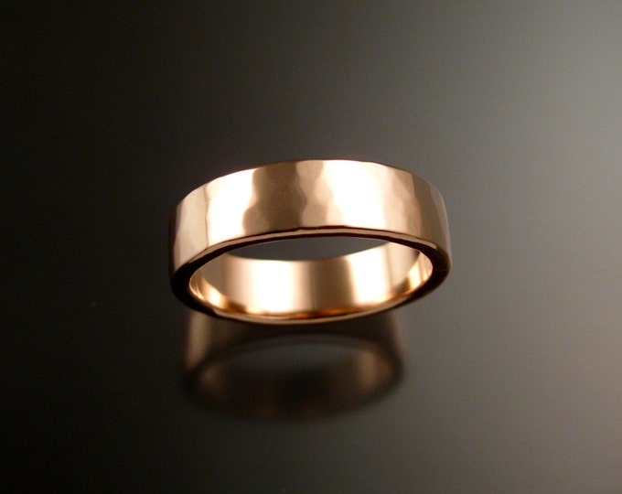 Rose Gold 2x6mm rectangular 14k comfort fit Lightly hammered Mans Wedding band Handmade in your size Grooms ring