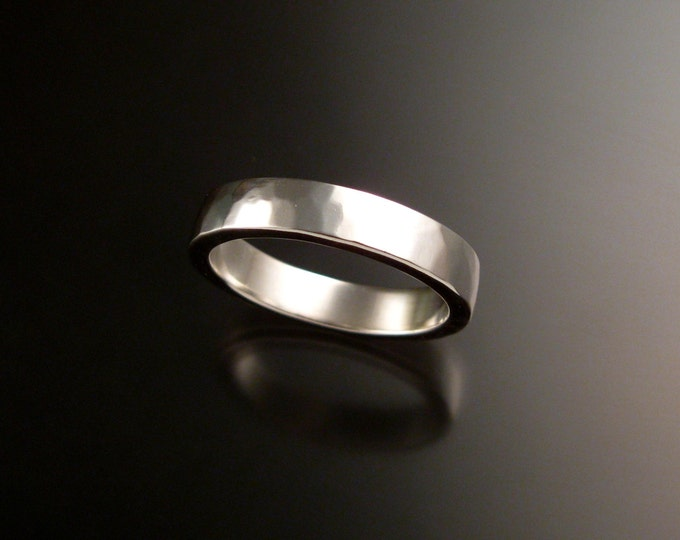 14k White Gold 2x4 mm rectangular Lightly hammered Wedding band Handmade in your size ring band