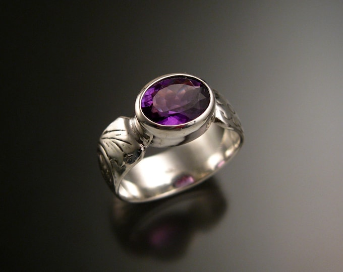 Amethyst 14k White Gold handmade wide Victorian floral pattern band ring east west bezel set stone ring made to order in your size
