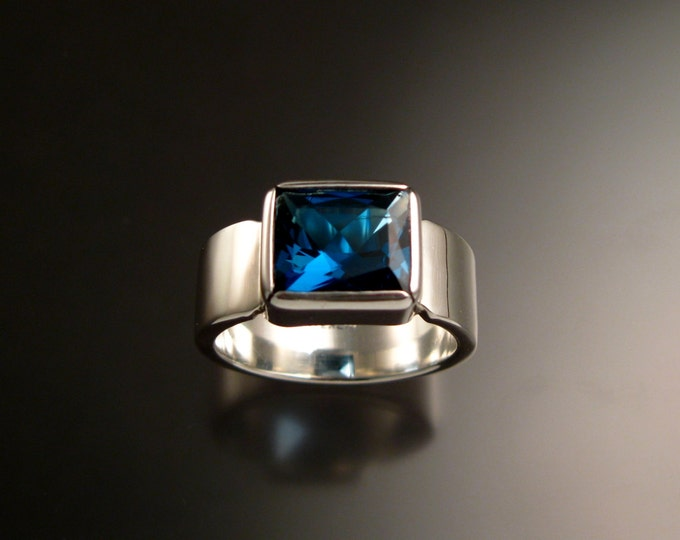 London Blue Topaz Ring Sterling silver 9 x 11 mm rectangle large blue stone ring Made to Order in your size wide band Ring