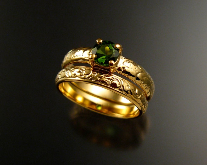 Green Tourmaline 14k Yellow Gold Victorian floral pattern wedding ring set Emerald substitute engagement rings