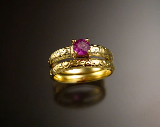 Pink Sapphire 14k Green Gold Victorian floral pattern wedding ring set Pink Diamond substitute engagement rings Made to order in your size
