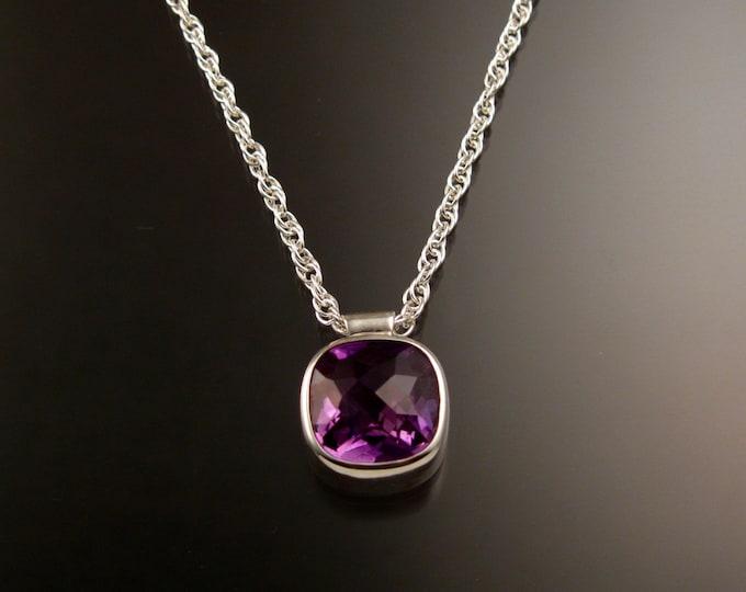 Amethyst Checkerboard cut bezel set stone necklace Sterling Silver Brazilian natural Amethyst adjustable length necklace