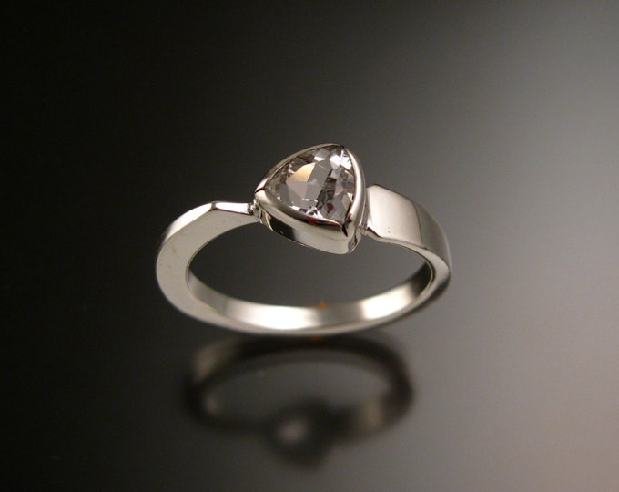 White Topaz triangle ring 14k White Gold bezel set Stone Asymmetrical setting made to order in your Size