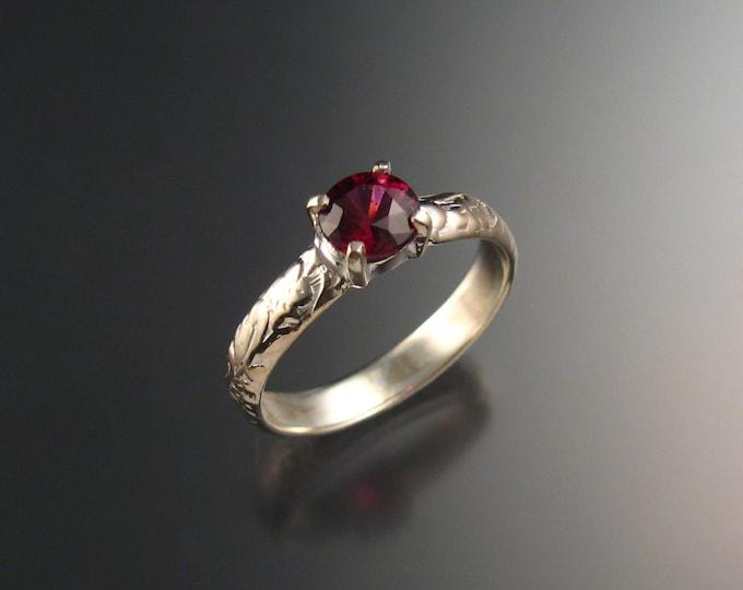 Garnet Natural Raspberry Rhodolite Garnet Wedding ring 14k White Gold Ruby substitute ring made to order in your size