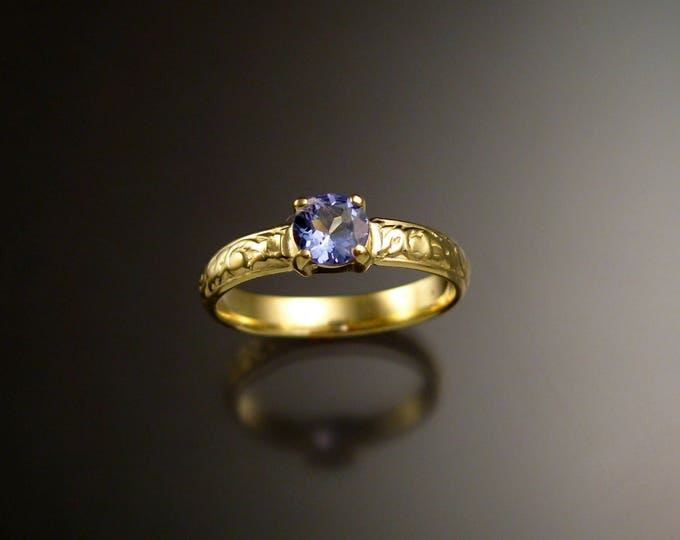 Tanzanite 14k Green Gold Victorian floral pattern wedding ring engagement ring Made to order in your size