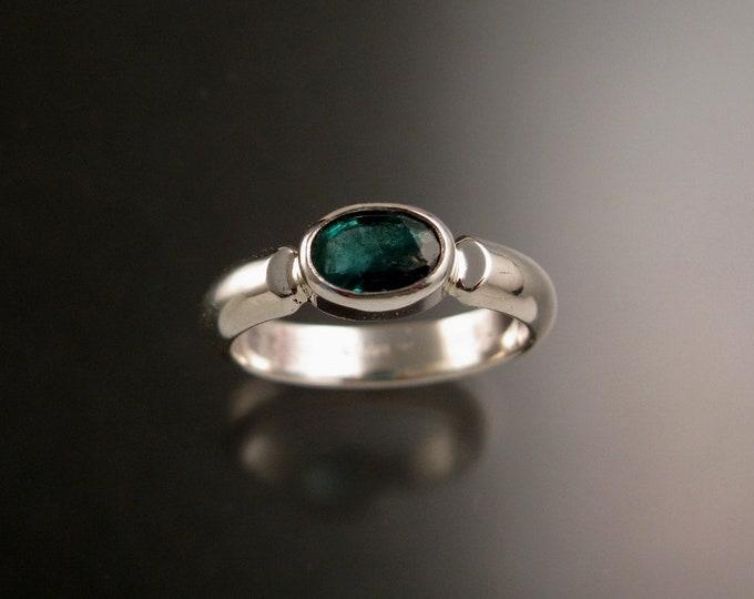 Emerald ring handmade size 8 natural Emerald bezel set