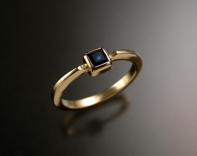 Sapphire square stackable ring 14k Yellow Gold princess cut deep blue Natural stone made to order in your size