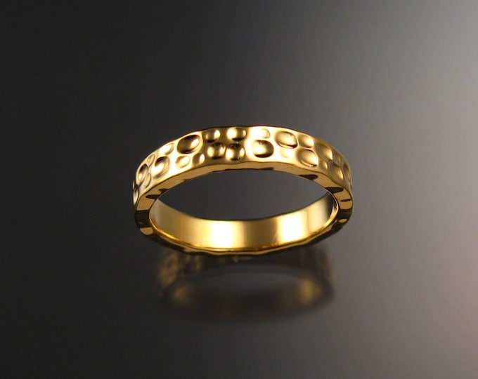 14k Yellow Gold Wedding band Moonscape design Unique Handmade ring made to order in your size