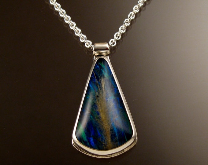 Rutilated Quartz and blue lab Opal large Doublet Necklace Handcrafted in Sterling Silver adjustable length