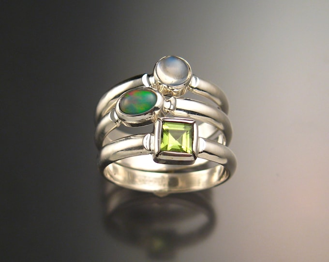 Stackable Mothers ring set of Three rings Made to order in Sterling Silver Birthstone rings Made to order in your size