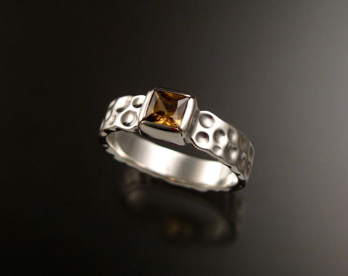 Zircon square Moonscape ring Chocolate Diamond substitute handcrafted in 14k white gold made to order in your size