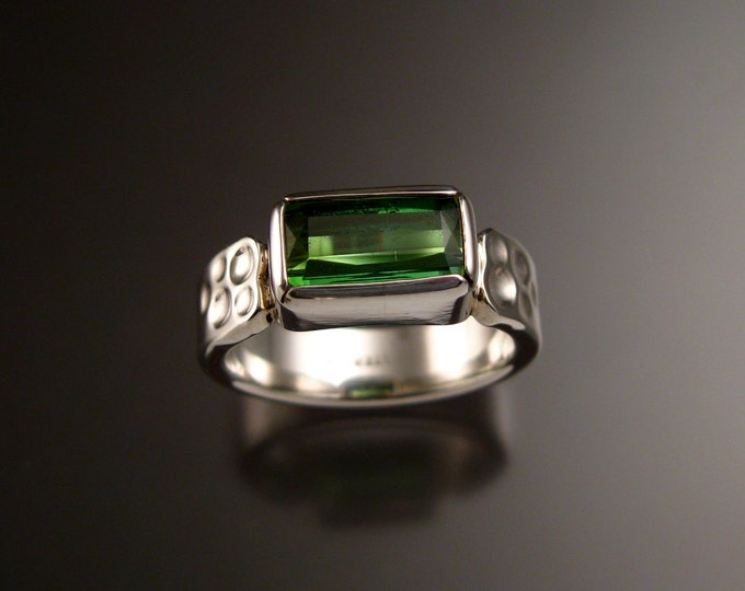 Green Tourmaline and Sterling Silver ring with 2x5mm Moonscape band size 9 Emerald substitute green Tourmaline scissors cut rectangle