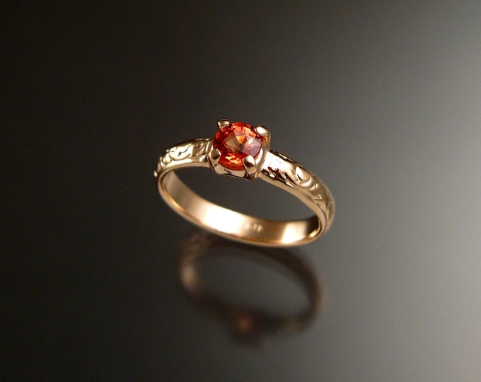 Orange Sapphire 14k Rose Gold Victorian floral pattern wedding ring Padparadscha engagement ring made to order in your size