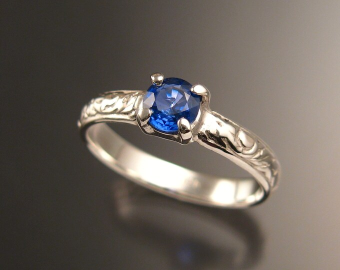 Sapphire Natural Electric Blue Ceylon  Wedding ring 14k White Gold Victorian Engagement ring made to order in your size