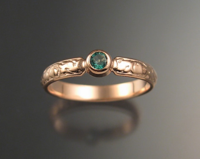 Emerald Wedding ring 14k rose Gold Victorian bezel set ring made to order in your size