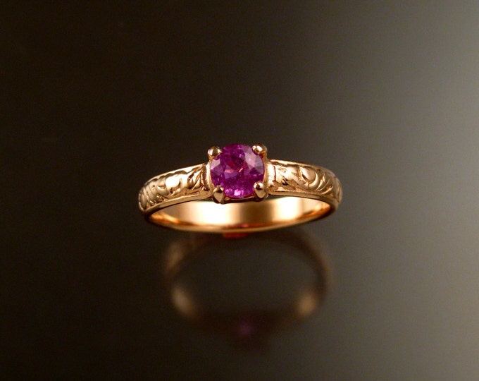 Pink Sapphire 14k rose gold Natural stone pink diamond substitute Victorian Wedding ring made to order in your size