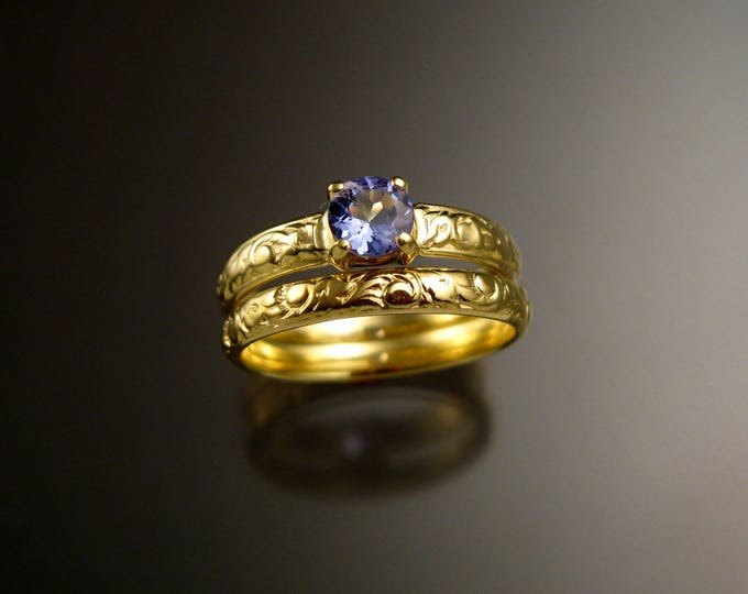 Tanzanite 14k Green Gold Victorian floral pattern wedding ring set engagement rings Made to order in your size