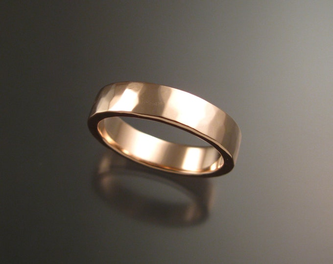 Rose Gold 2x5 mm Heavy 14k rectangular comfort fit Lightly hammered Mans Wedding band Handmade in your size Grooms ring