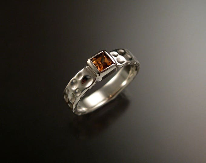 Zircon square Moonscape ring Chocolate Diamond substitute handmade in 14k white gold made to order in your size