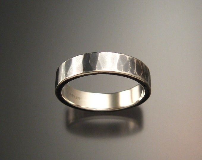 Sterling Silver Hammered finish 2mm x 6mm Rectangular Wedding band made to order in your size Oxidized wide silver Ring