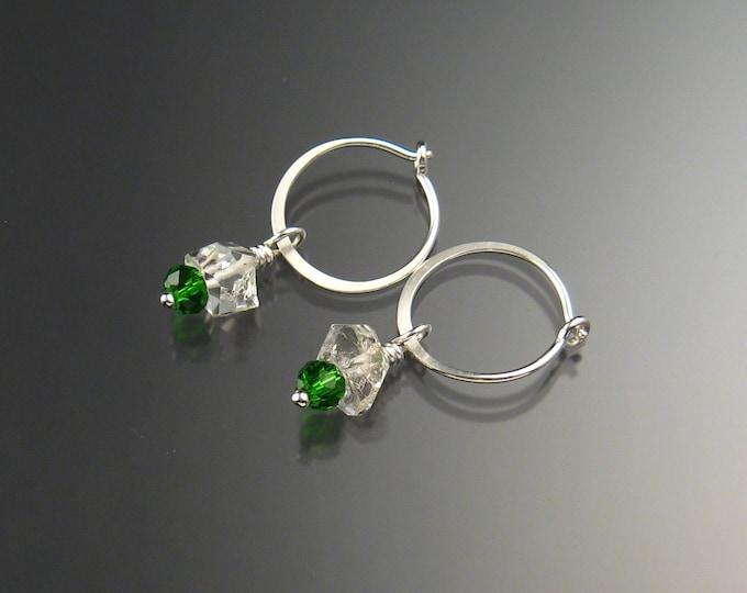 Natural Quartz Crystal Birthstone Hoop Earrings May birthstone Emerald Green Hoops in Sterling silver
