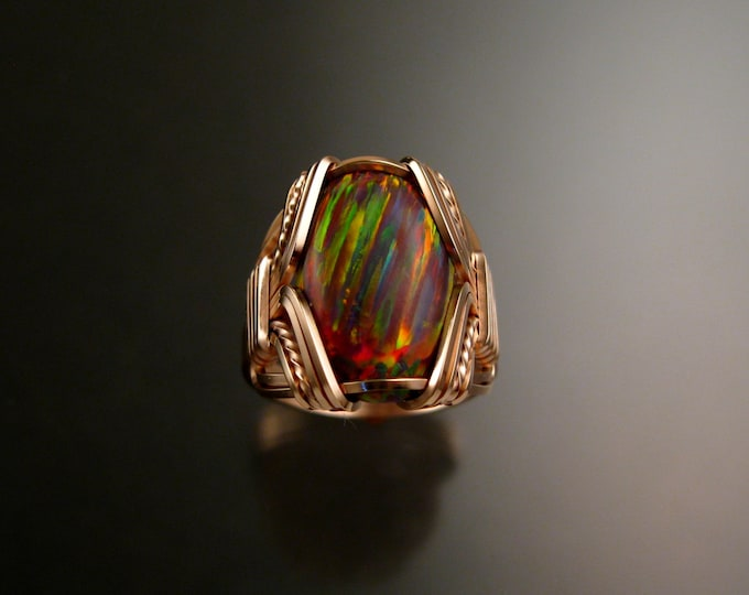 Orange Lab created Opal ring 14k Rose Gold-filled Made to order in your size