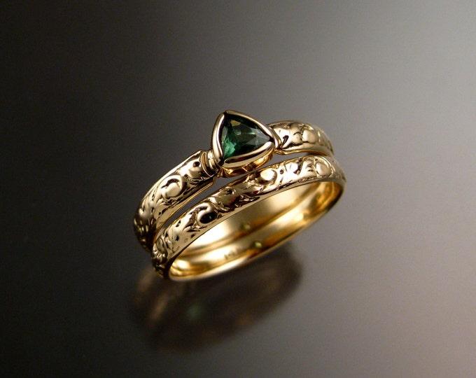 Tsavorite Garnet Triangle two ring Wedding set 14k Yellow Gold Victorian bezel set Tsavorite Garnet ring made to order in your size