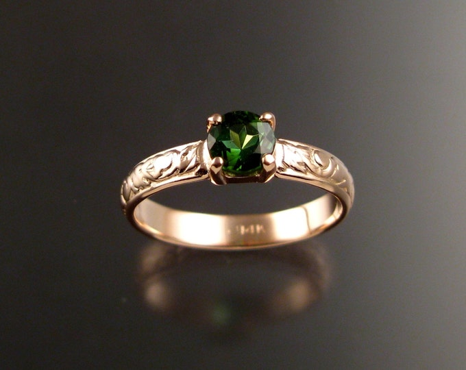 Green Tourmaline Wedding ring 14k rose Gold Emerald substitute Victorian floral pattern ring made to order in your size