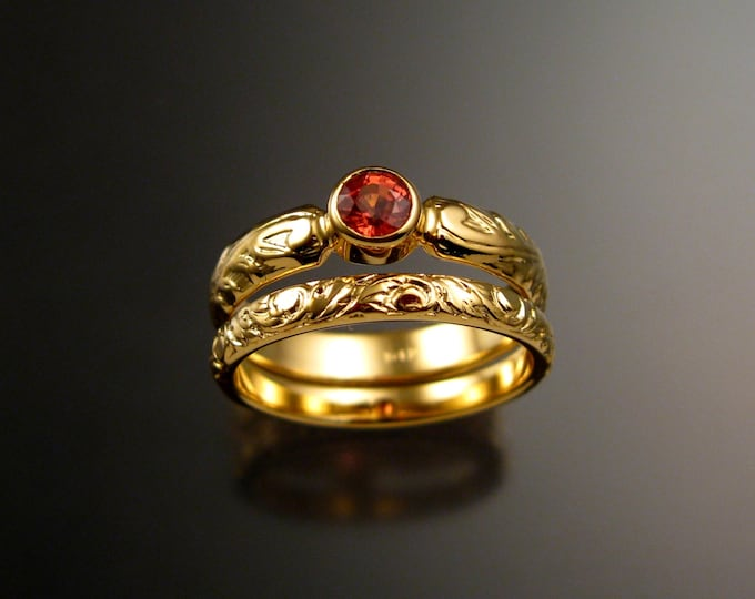 Orange Sapphire Wedding set 14k Yellow Gold Victorian floral pattern bezel set Padparadscha ring made to order in your size