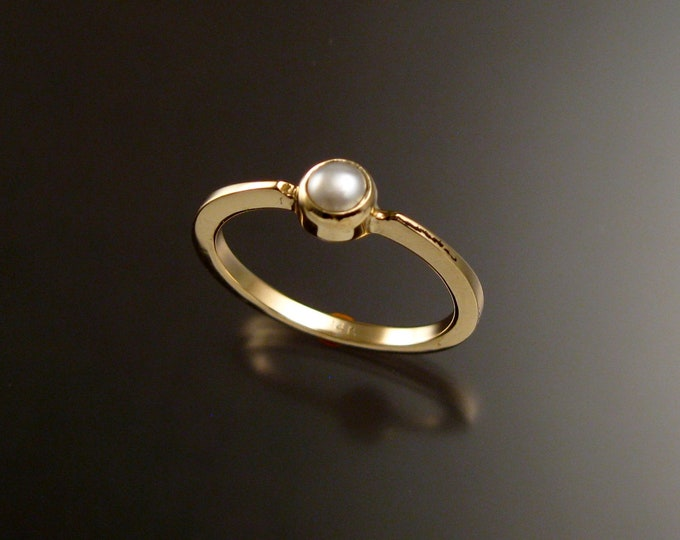 Natural Pearl 4mm round ring 14k Yellow Gold and natural stacking ring Made to order in your size