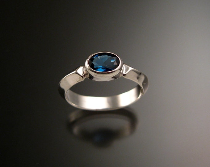 London Blue Topaz Sterling Silver handmade triangular band ring with bezel set east west stone stacking ring made to order in your size