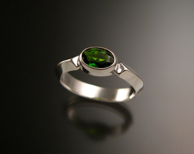 Chrome Diopside 14k White Gold triangular band ring with bezel set east west stone Emerald substitute ring handmade to order in your size