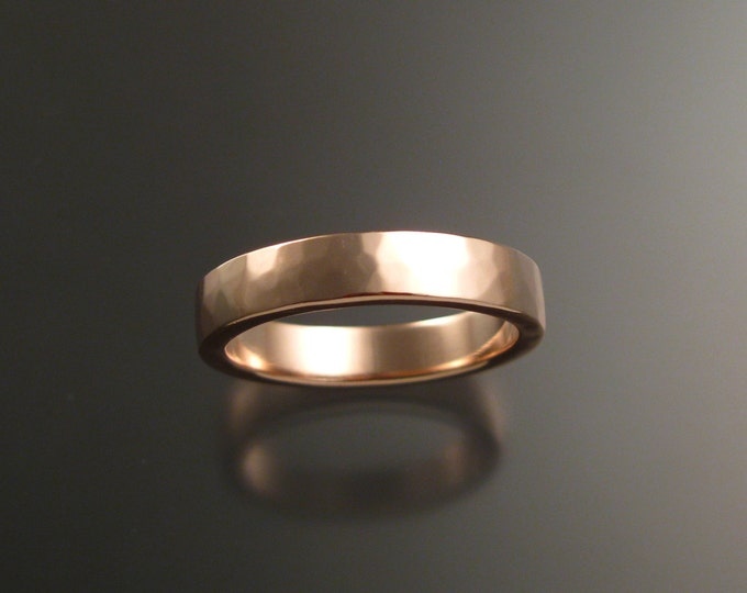 14k Rose Gold 2x4 mm rectangular comfort fit Lightly hammered Wedding band Handmade in your size ring band