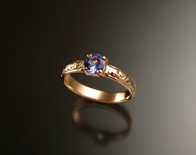 Tanzanite 14k Rose Gold Victorian floral pattern wedding ring engagement ring Made to order in your size