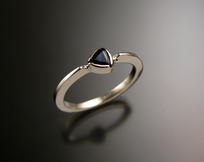 Sapphire stackable  triangle ring 14k white Gold stacking ring Made to order in your size
