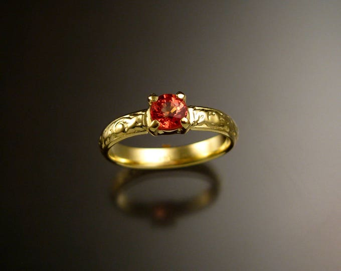 Orange Sapphire 14k Green Gold Victorian floral pattern wedding ring Padparadscha engagement ring Made to order in your size