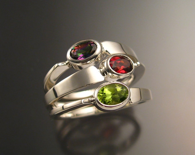Stackable Mothers Birthstone ring set of Three asymmetrical Sterling silver rings handmade to order in your size with natural stones