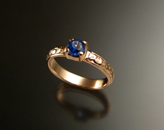Kyanite 14k Rose Gold Victorian floral pattern wedding ring Blue Sapphire substitute engagement ring Made to order in your size