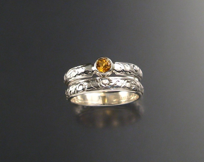 Citrine Wedding Set Sterling Silver made to order in your size