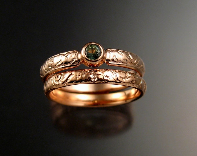 Green Sapphire Wedding set 14k rose Gold Victorian bezel set Green Diamond substitute ring made to order in your size