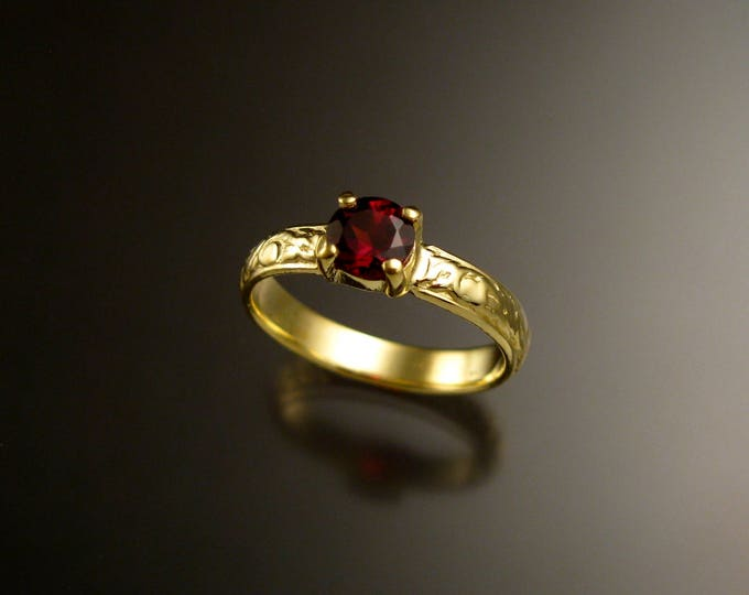 Garnet 14k Green Gold Victorian floral pattern wedding ring engagement ring Made to order in your size